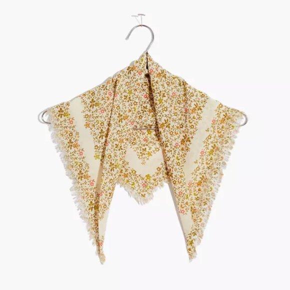 Vintage Pink Handkerchief Bandanna Fringe /& Bead Accessory